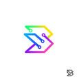 initial letter b logo design template technology vector image