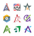 letter a in various style logo vector image vector image