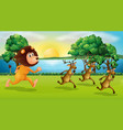 lion and deers running in the park vector image vector image