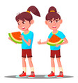 little girl eating a large slice of watermelon vector image