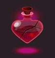 little pink glossy heart-shape love potion bottle vector image vector image