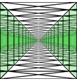 long corridor with transparent walls geometric vector image