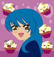 manga girl with kawaii cupcakes vector image vector image