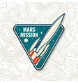 mars mission logo badge patch concept vector image