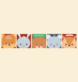 merry christmas celebration cute animals heads vector image vector image
