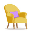 modern yellow soft armchair with upholstery vector image