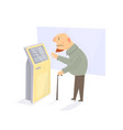 old man with stick take a ticket for the vector image vector image