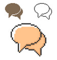 pixel icon two blank speech bubbles dialogue vector image vector image