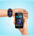 realistic smart watch composition vector image vector image
