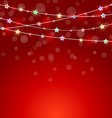red holiday background with colored lights and vector image vector image