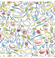 Restaurant Colorful Hand-drawn Seamless Pattern vector image vector image