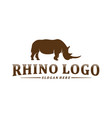 rhino logo design template rhino silhouette icon vector image vector image