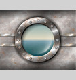 Rusty porthole with seascape vector image vector image