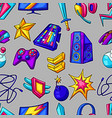 seamless pattern with gaming items cyber sports vector image vector image