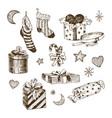set of christmas toys for children socks for vector image vector image