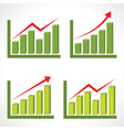 Set of different business graph with rising arrow vector image