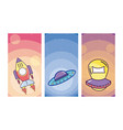 set of spacecrafts cartoons vector image