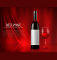 set realistic glass wine vector image