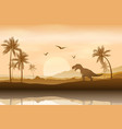 silhouette a dinosaur in riverbank background vector image vector image