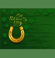 st patricks day text greeting card golden vector image vector image