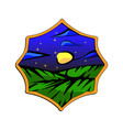 starry night meadow badge starry view with vector image vector image