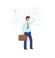thinking businessman standing vector image