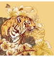 Tropical Exotic Floral card with Toucan and Tiger vector image vector image