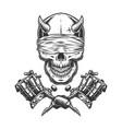 vintage monochrome demon skull vector image vector image