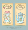 vintage posters pastries and tea vector image vector image