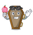 with ice cream coffin character cartoon style vector image