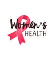 women health handwritten lettering breast vector image