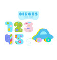 cartoon style numbers 1 2 3 4 5 and blue toy vector image