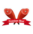 meat logo label for menu butchery flat style vector image