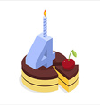 4 years birthday cake isometrics Number four with vector image vector image