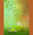 a glass teapot and a cup of green tea on a colored vector image vector image