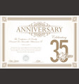 anniversary retro vintage background 35 years vector image vector image