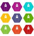 baby milk bottle icon set color hexahedron vector image vector image