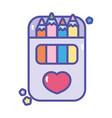 back to school artistic pencils color in box vector image