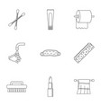 bathroom equipment icons set outline style vector image vector image