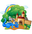 castle scene with knight and dragon vector image vector image