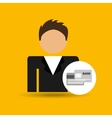 chracter man bank cards credit card icon vector image