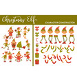christmas elf winter character set activities and vector image vector image