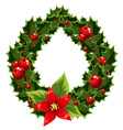 Christmas green and red embellishment with berry vector image vector image
