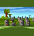 colored cemetery gravestone composition vector image