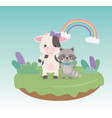cute and little raccoon and cow in field vector image
