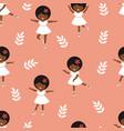 cute little ballerina girls dancing seamless vector image