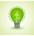 Eco light bulb with windmills vector image vector image