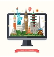Flat design with world famous vector image vector image