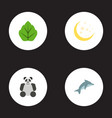 flat icons night foliage playful fish and other vector image