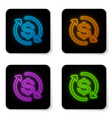 glowing neon return investment icon isolated vector image vector image
